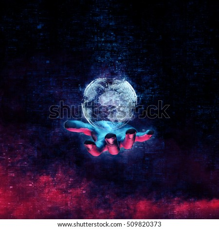 Data Earth hand / 3D illustration of glowing virtual Earth floating above open hand