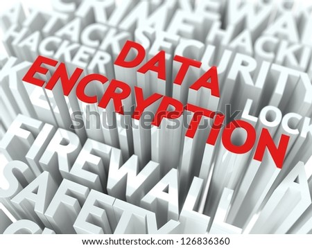 Data Encryption Concept. The Word of Red Color Located over Text of White Color. - stock photo