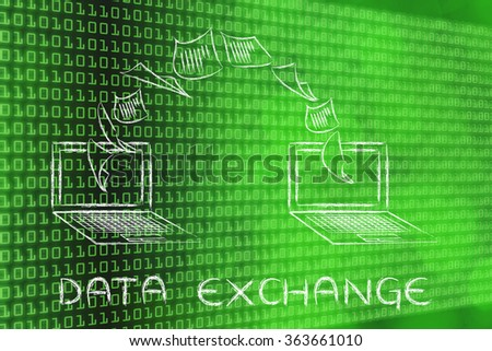 data exchange concept: laptops with documents flying among screens on binary code & bokeh background
