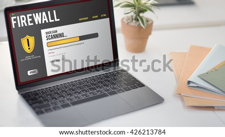Data File Protection Firewall Malware Removal Concept - stock photo