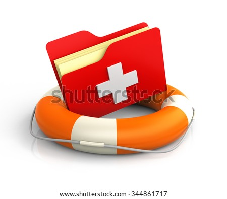 Data folders in life buoy with first aid symbol. Rescuing your files concept