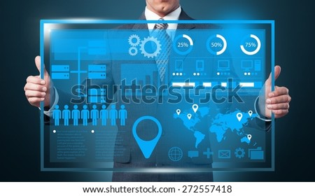 Data. Hand holding digital vurtual screen technology business concept, Creative network information process diagram - stock photo