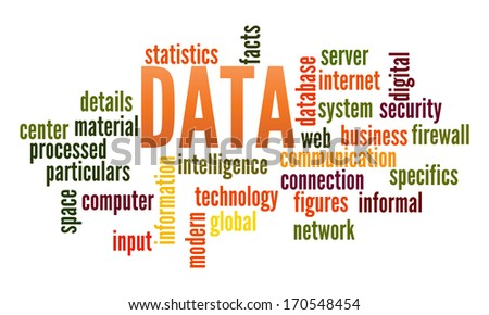 Data in word collage - stock photo