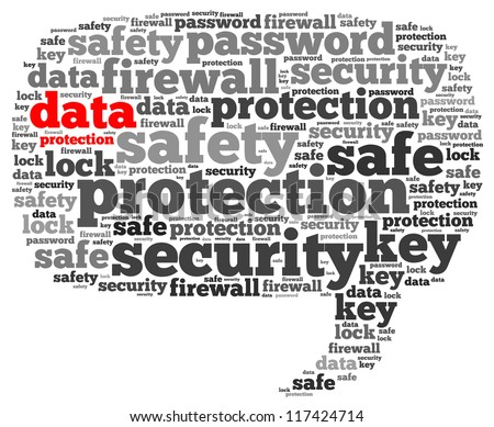 Data info-text graphics and arrangement concept on white background (word cloud) - stock photo