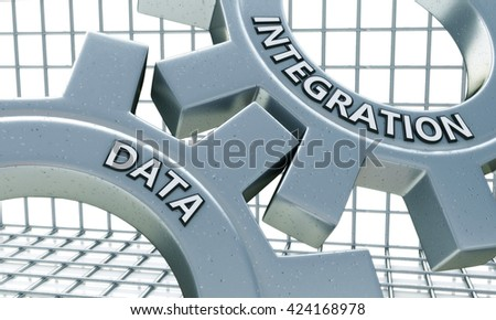 Data Integration on the Mechanism of Metal Gears in the design of information related to business technology. 3d illustration - stock photo