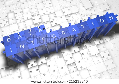 Data Integration - puzzle 3d render illustration with block letters on blue jigsaw pieces