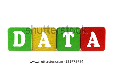 data - isolated text in wooden building blocks - stock photo