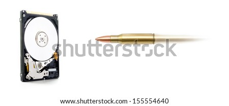 Data loss and protection suggested by a bullet being fired towards a hard drive destroying data - stock photo