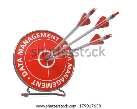 Data Management Concept. Three Arrows Hit in Red Target.