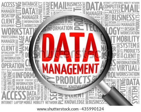 Data Management word cloud with magnifying glass, business concept 3D illustration - stock photo