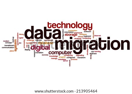 Data migration concept word cloud background - stock photo