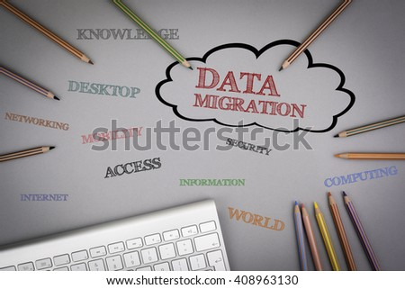 Data Migration word cloud. Colored pencils and a computer keyboard on the table. - stock photo