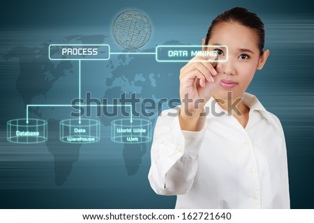 Data mining concept - business woman writing virtual screen