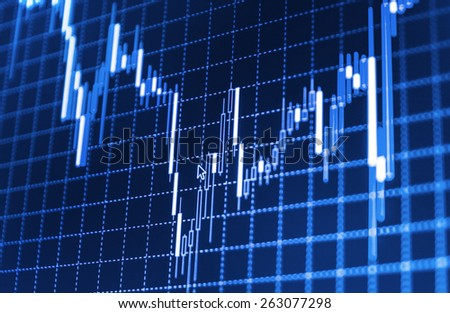 Data on live computer screen. Display of quotes pricing graph visualization. Stock market graph and bar chart price display. Abstract financial background trade colorful  blue abstract.  - stock photo