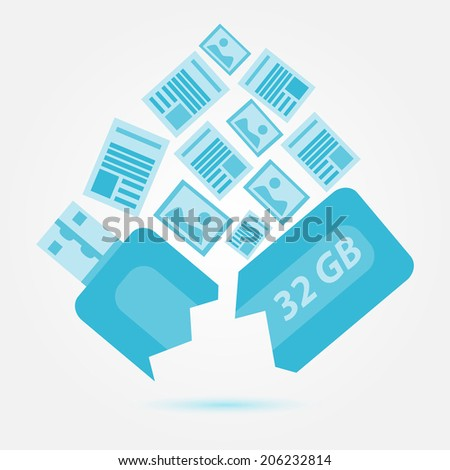 Data or information lost, Blue broken usb drive - stock photo