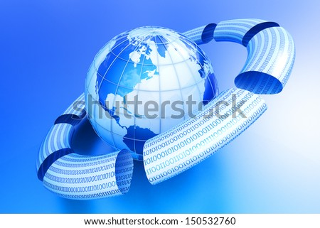 Data packets around globe. Internet concept. Elements of this image furnished by NASA. - stock photo