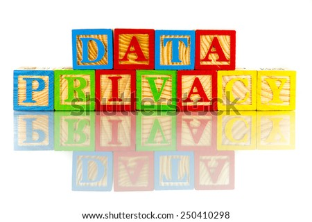data privacy colorful word on the white background