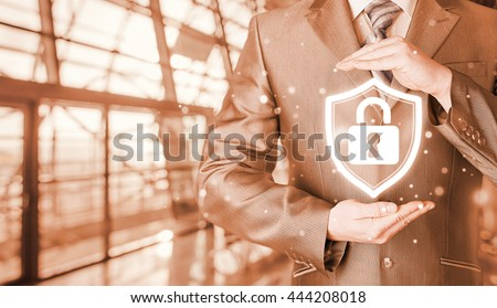 Data protection and insurance. Concept of business security, safety of information from virus, crime and attack. Internet secure system. Terminal background. Airport, railroad station. - stock photo