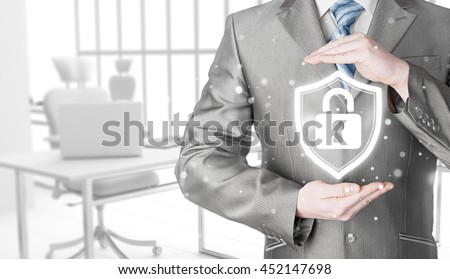 Data protection and insurance. Concept of business security, safety of information from virus, crime and attack. Internet secure system. Office background. - stock photo