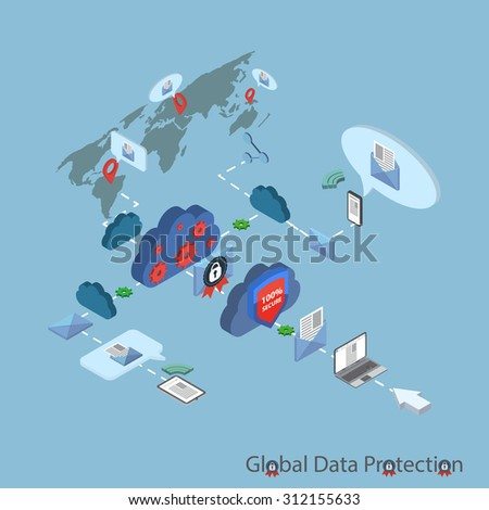 Data protection and safe work. Flat design isometric illustration.