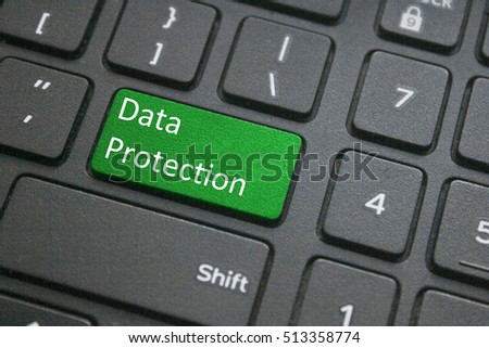 Data protection button on black computer keyboard