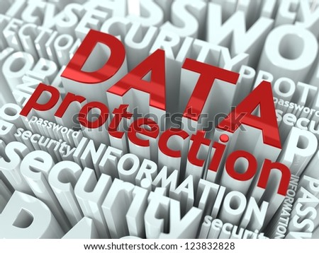 Data Protection Concept. Inscription of Red Color Located over Text of White Color. - stock photo