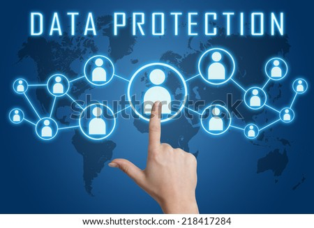 Data Protection concept with hand pressing social icons on blue world map background. - stock photo