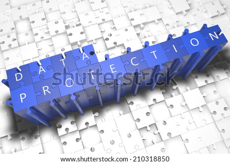 Data Protection - puzzle 3d render illustration with block letters on blue jigsaw pieces