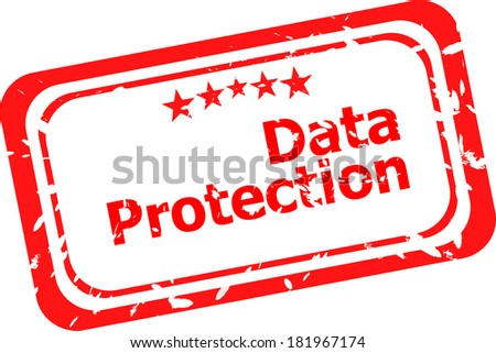 data protection red rubber stamp over a white background