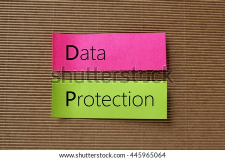 data protection text on colorful sticky notes - stock photo