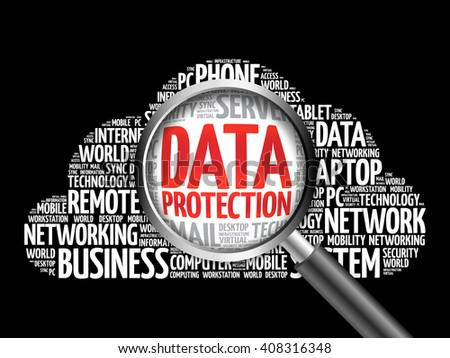 Data Protection word cloud with magnifying glass, business concept - stock photo