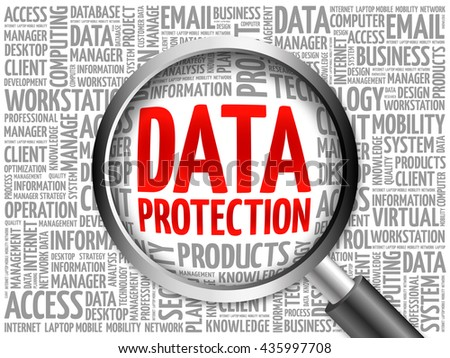 Data protection word cloud with magnifying glass, business concept 3D illustration - stock photo