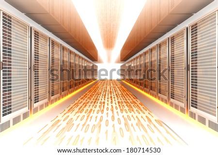 Data rush on the Server highway. 3d rendered Illustration. - stock photo