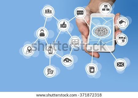 Data scientist and big data concept in order to conduct predictive analysis of sensor data coming from IOT devices like car, virtual reality glasses, manufacturing - stock photo