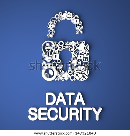 Data Security Card Handmade from Paper Characters on Blue Background. 3D Render. Business Concept. - stock photo