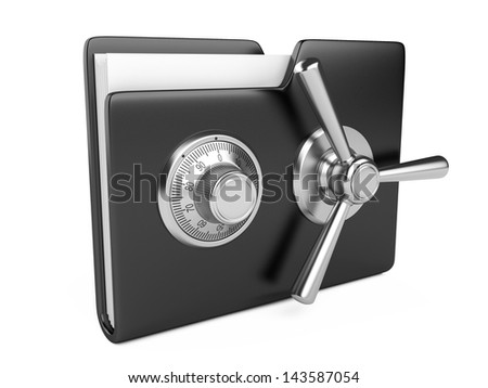 Data security concept. Black folder and combination Lock. 3D image isolated on white - stock photo