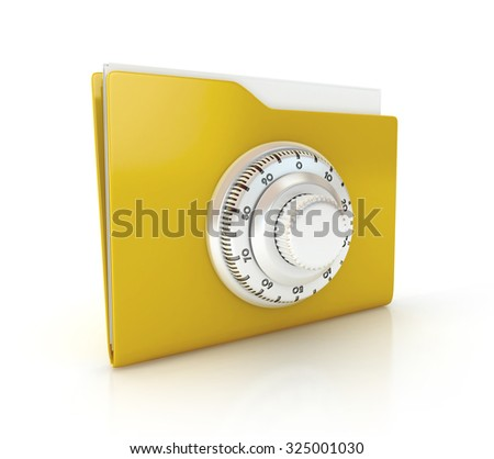 Data security concept. Folder with combination Lock. 3d illustration