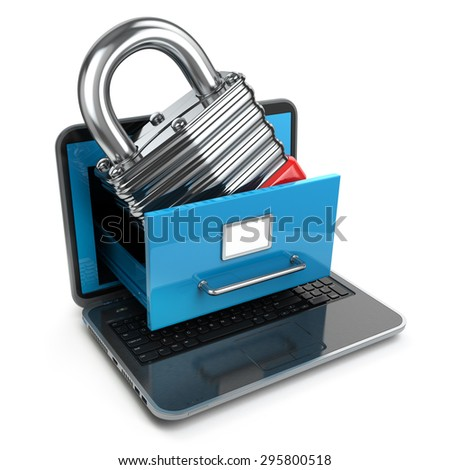 Data security concept. Laptop, archive and lock. 3d - stock photo