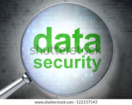 Data security concept: Magnifying optical glass with words data security on digital background, 3d render