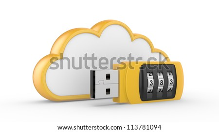 Data security concept. USB flash drive with combination lock and cloud. 3D image on white - stock photo
