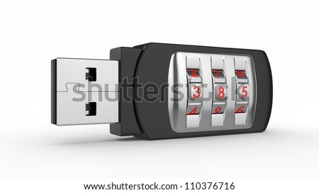 Data security concept. USB flash drive with combination lock. 3D image on white