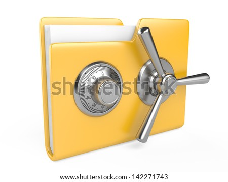 Data security concept. Yellow folder and combination Lock. 3D image isolated on white