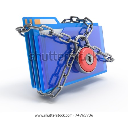 Data security. 3d illustration of folders closed by a chain and lock, isolated on white. - stock photo