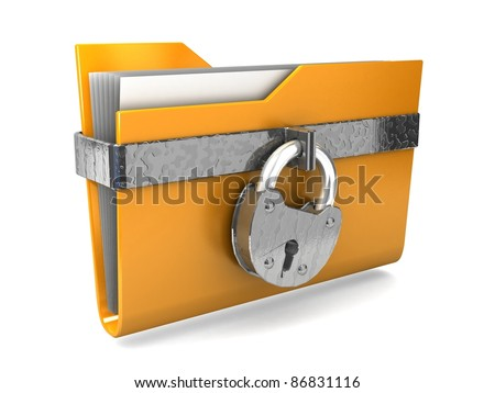 Data security. 3d illustration of folders closed isolated on white. - stock photo