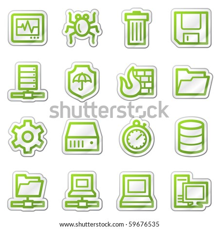 Data security web icons, green sticker series - stock photo