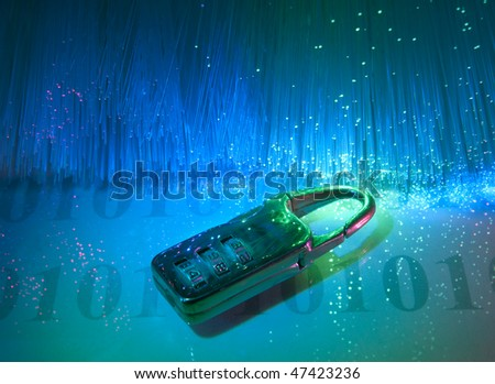 data security with fiber optical background - stock photo
