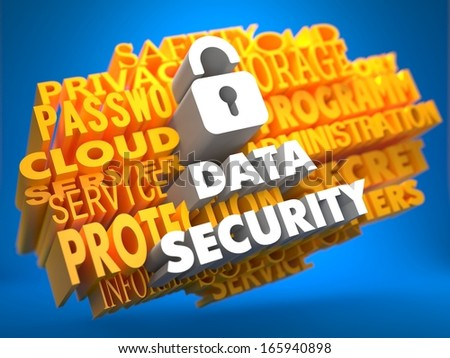Data Security with Icon of Opened Padlock - White Color Text on Yellow WordCloud on Blue Background. - stock photo