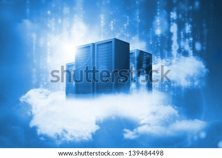 Data servers resting on clouds in blue in a cloudy sky - stock photo