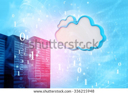 Data servers with cloud servers  - stock photo