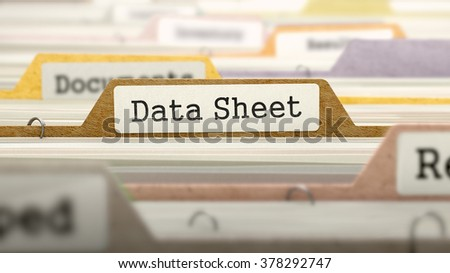 Data Sheet Concept on File Label in Multicolor Card Index. Closeup View. Selective Focus.  3D Render.
